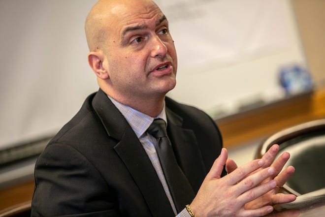 Superintendent of Detroit Public Schools Community District Nikolai Vitti talks to students about their concerns at the Student Leadership Development meeting at the Detroit Public Schools Community District headquarters in Detroit on Friday, May 10, 2019