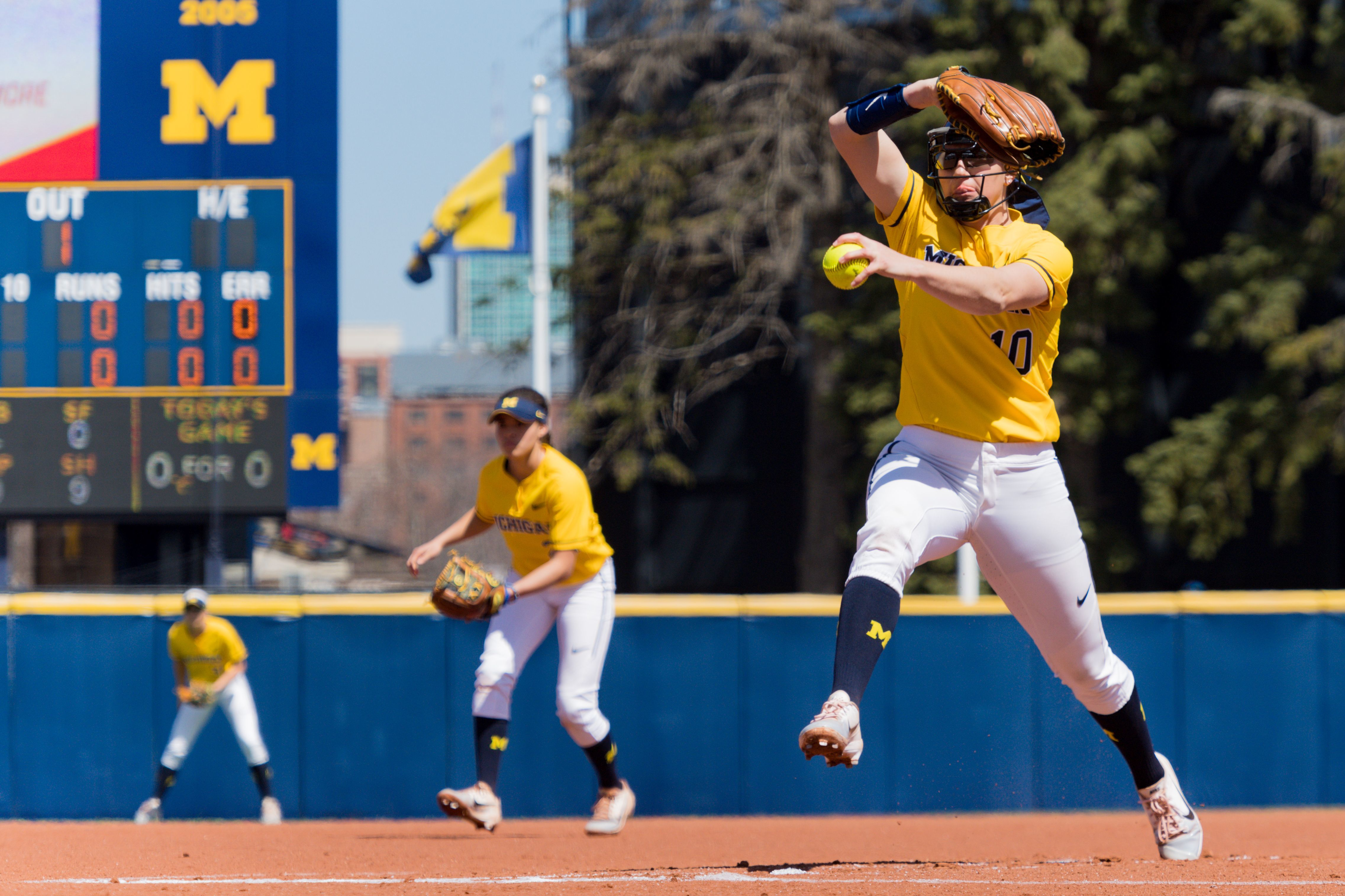 Michigan pitcher Meghan Beaubien throws against Maryland on April 22, 2018.