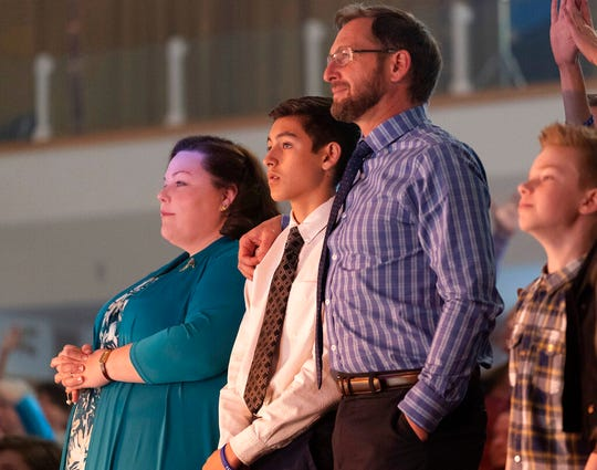 """This image released by 20th Century Fox shows, from left, Chrissy Metz, Marcel Ruiz and Josh Lucas in a scene from """"Breakthrough."""""""