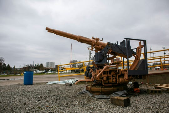 In this Tuesday, April 30, 2019 photo, the LST 393 Veteran Museum's new anti-aircraft gun, which is in the process of restoration, sits in Muskegon, Mich. The gun, which was used in World War II, will be added to the LST 393 ship when it is fully restored.