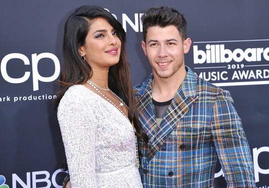 Priyanka Chopra, left, and Nick Jonas arrives at the Billboard Music Awards on Wednesday, May 1, 2019, at the MGM Grand Garden Arena in Las Vegas.