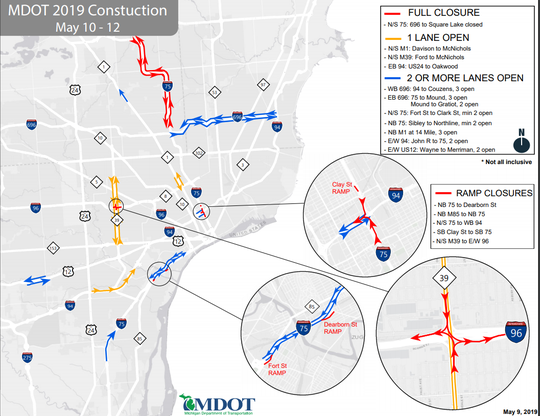 Roadwork scheduled for Metro Detroit for the May 10-12 weekend.