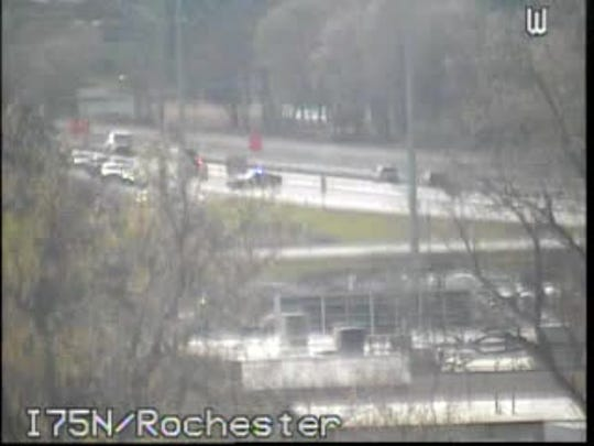 Police have closed the freeway at Rochester Road in Troy.