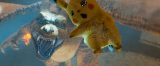 "Pikachu, voiced by Ryan Reynolds, in ""Detective Pikachu."""