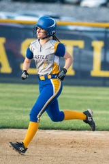 Castle's Ella Bassett (7) runs to second during the  Castle Knights vs. Reitz Panthers game at Lockyear Field in Newburgh, Ind. Thursday, May 10, 2019.