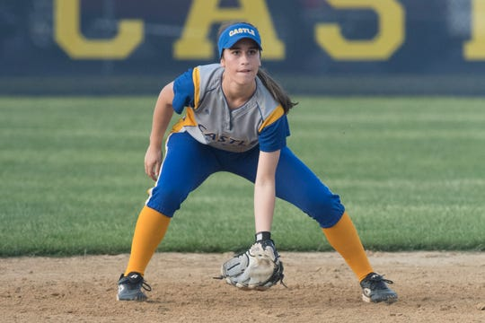 Castle's Ella Bassett (7) sets in place during the  Castle Knights vs. Reitz Panthers game at Lockyear Field in Newburgh, Ind. Thursday, May 10, 2019.