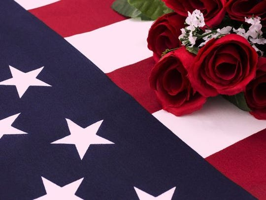 American flag and roses