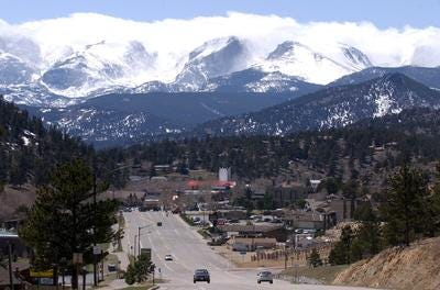 U.S. Highway 34 leading into Estes Park where a mountain coaster project is dividing residents.
