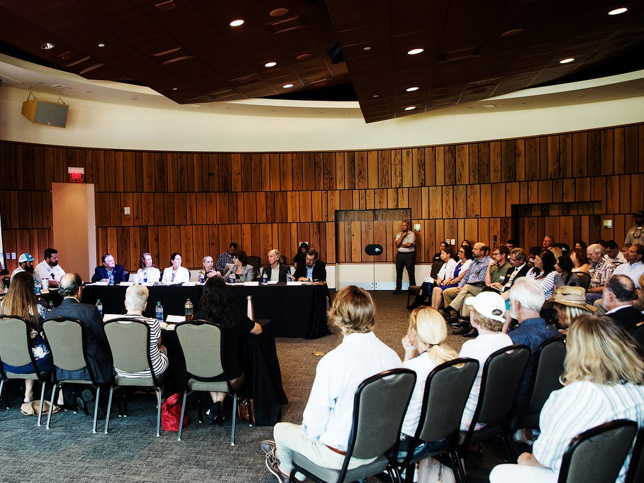 Members of the public along woth water quality advocates gathered at a public meeting about water quality issues at the Conservancy of Southwest Florida in Naples on Friday May 10, 2019. U.S. Rep. Francis Rooney oversaw the meeting.