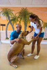 Kayleigh Lawson and Brandon Perau interact with their hound-terrier mix, Sheldon, Thursday afternoon, May 9, 2019. Tiki Tails Dog Resort opened recently in Cape Coral and offers customers boarding, daycare and grooming services.