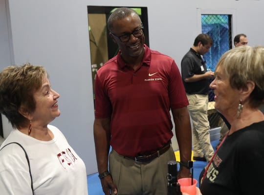 Florida State football coach Willie Taggart greets fans and speaks at the 2019 Seminole Boosters Spring Tour event at the IMAG in Fort Myers on Thursday, May 9, 2019.