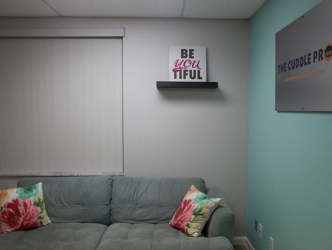 Some of the rooms at Cuddle Pros. It is offering professional cuddling services. Clients have to go through a consultation and set up appointments. The services vary according to what the client is comfortable with, but it is a purely platonic service.