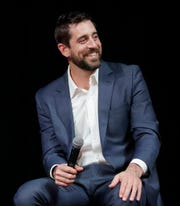 Green Bay Packers quarterback Aaron Rodgers appears at the Prevea Runway for Life - The Grande Finale, a fundraiser for Families of Children with Cancer Inc.,  in 2019 in Ashwaubenon.