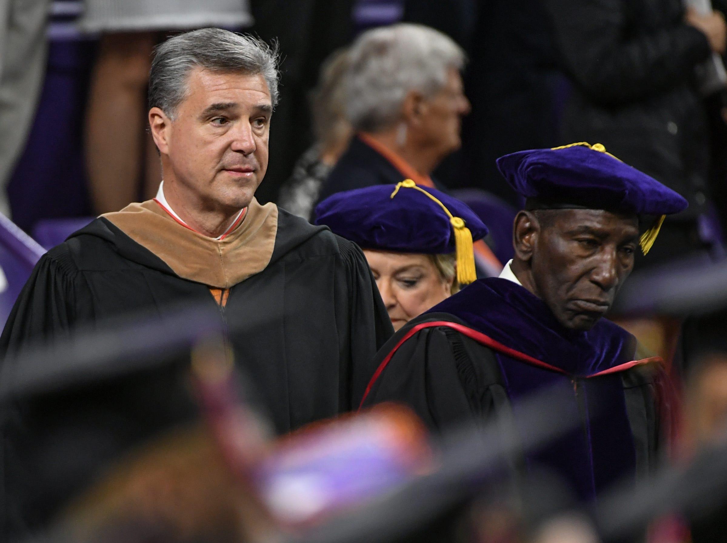 Dan Radakovich, Clemson Athletic Director, during Clemson University commencement ceremonies in Littlejohn Coliseum in Clemson Friday, May 10, 2019.