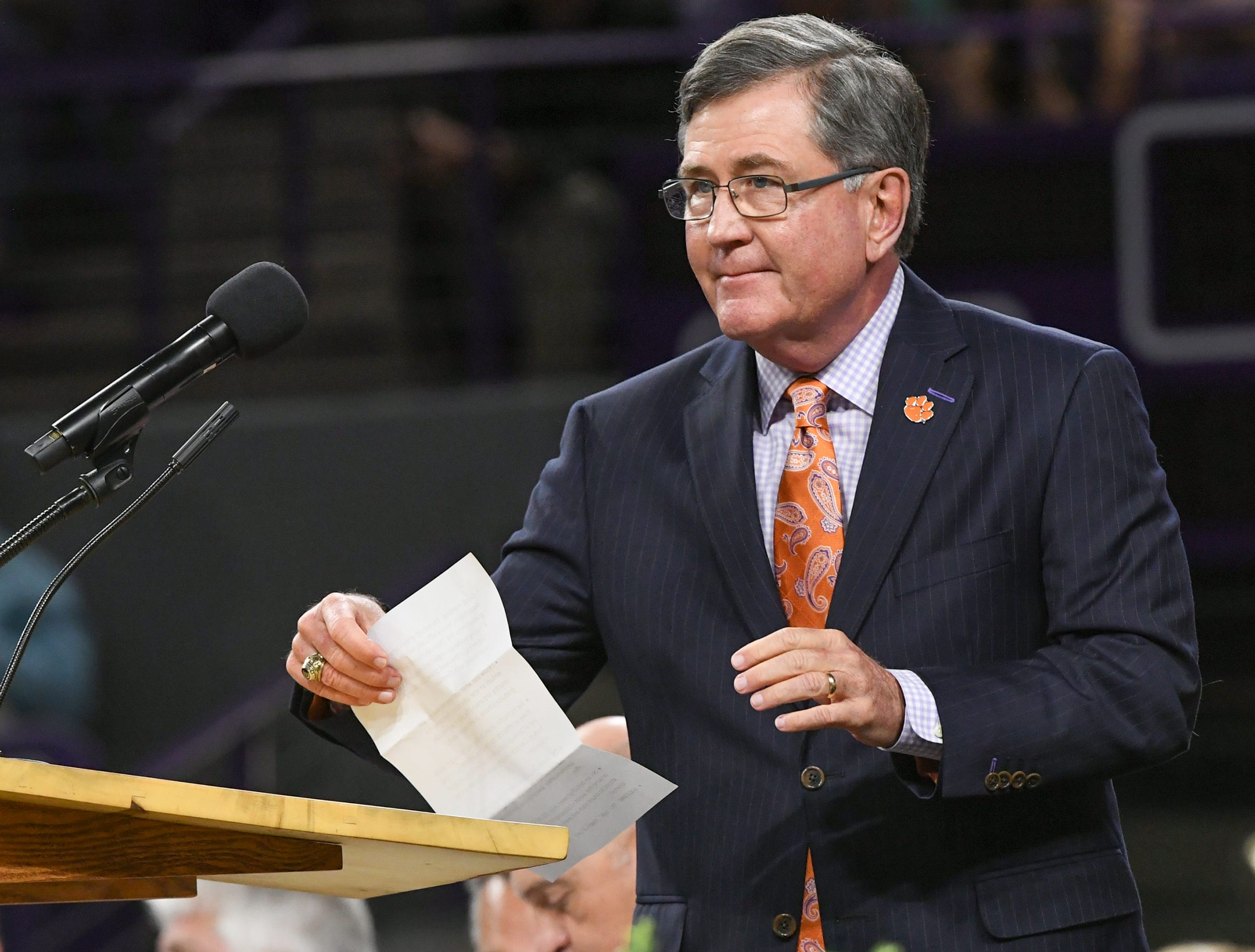 Gregg Morton of Clemson, on the Clemson Alumni Association board, talks to students during Clemson University commencement ceremonies in Littlejohn Coliseum in Clemson Friday, May 10, 2019.