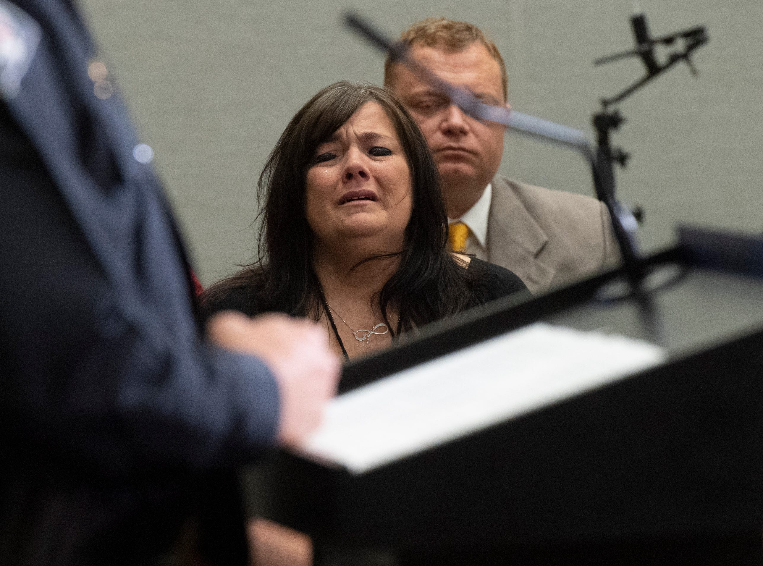 Army veteran Jared Johns' mother Kathy Bowling attends a press conference at the Greenville Convention Center Friday, May 10, 2019.