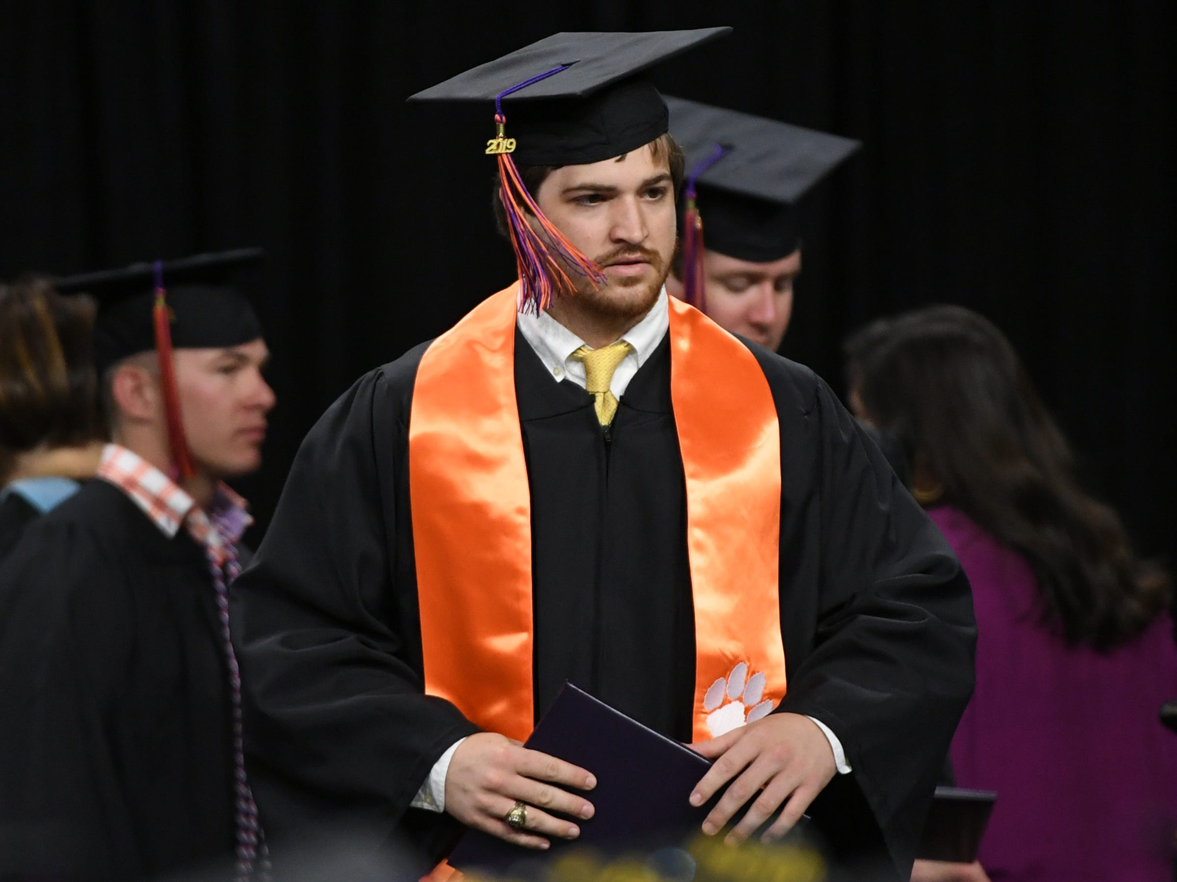 James Barnes of Sumter, a former Clemson football quarterback, earned a Bachelor of Science in Agricultural Mechanization and Business during Clemson University commencement ceremonies in Littlejohn Coliseum in Clemson Friday, May 10, 2019.