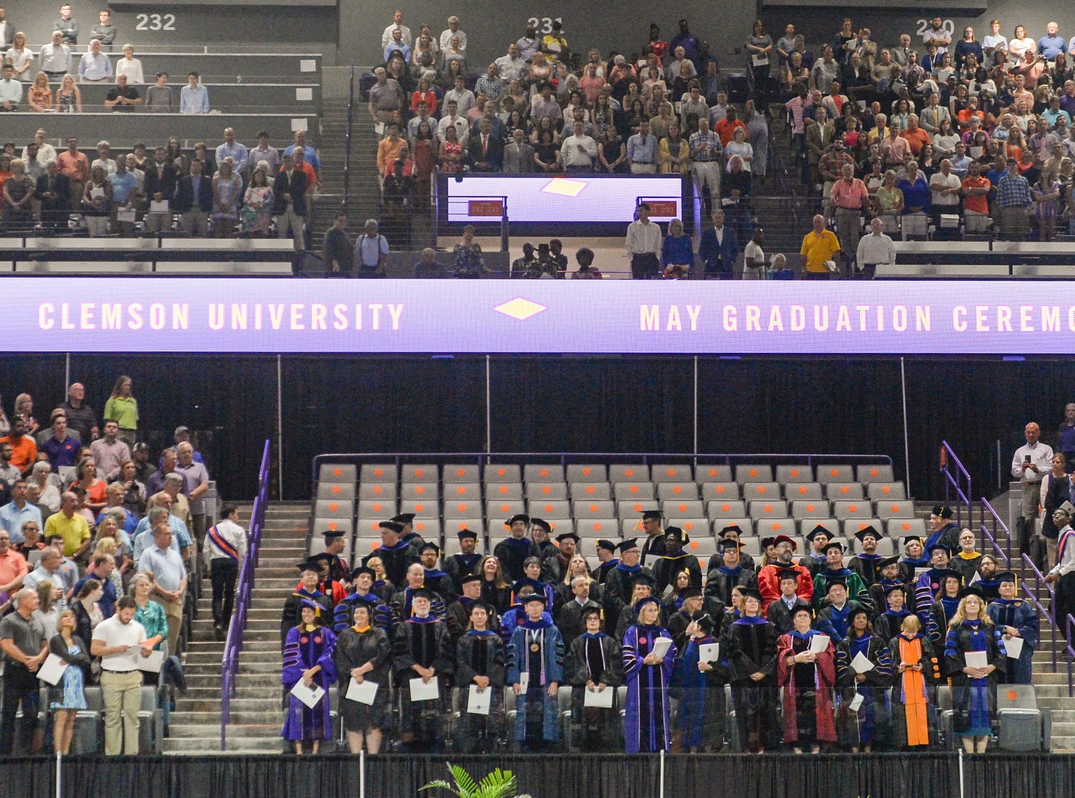Faculty get seated before Clemson University commencement ceremonies in Littlejohn Coliseum in Clemson Friday, May 10, 2019.