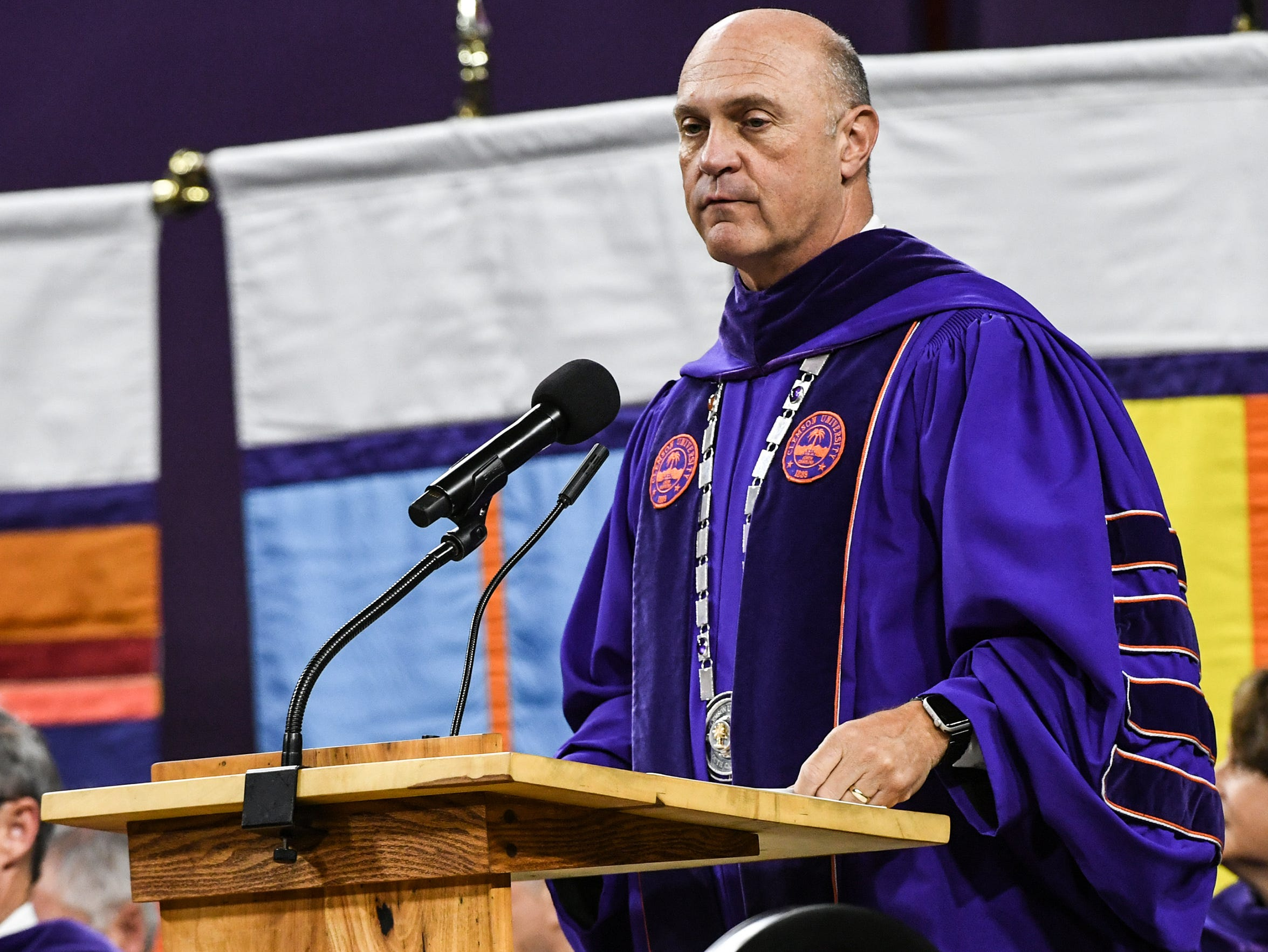 President Jim Clements speaks during Clemson University commencement ceremonies in Littlejohn Coliseum in Clemson Friday, May 10, 2019.