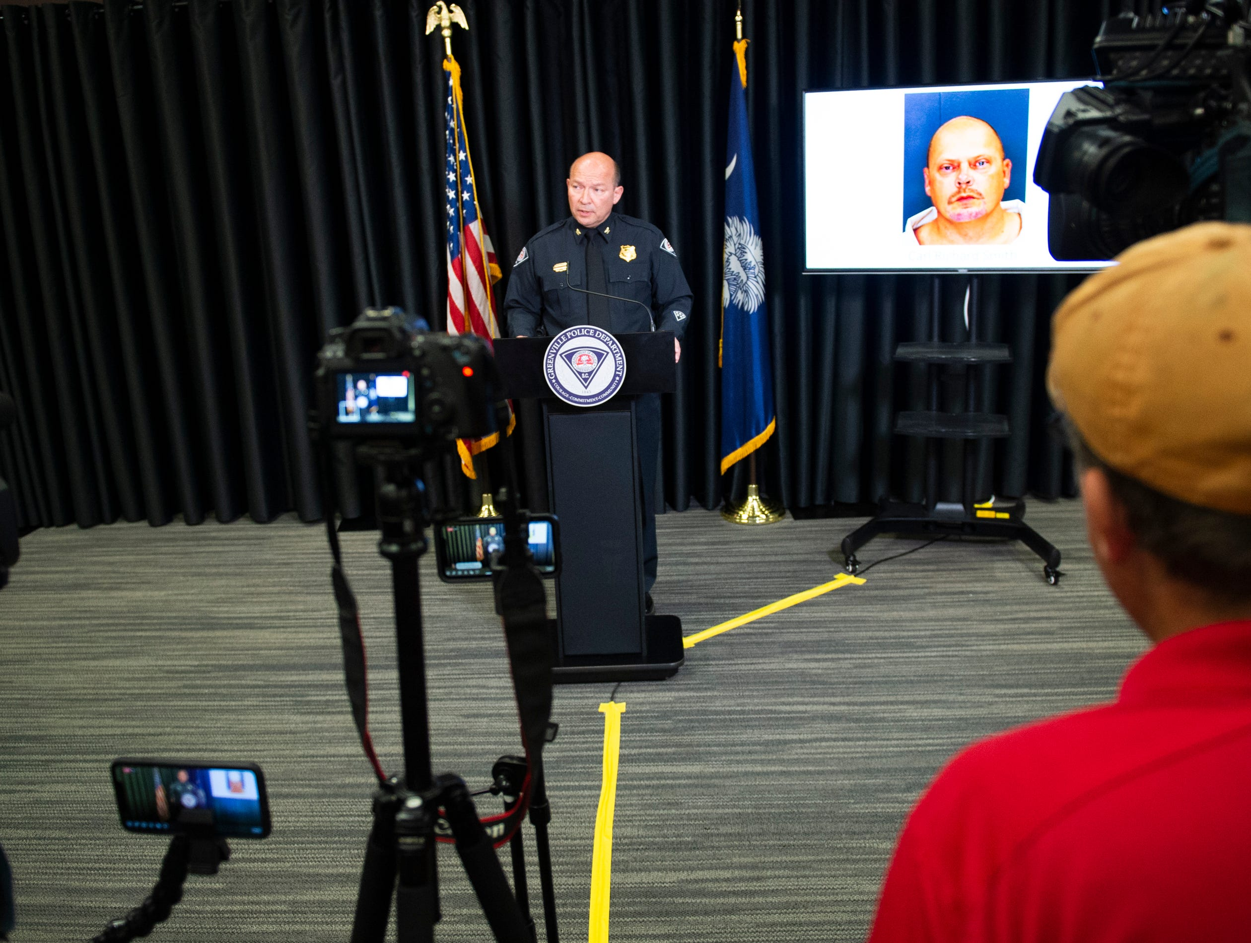 Greenville Chief of Police Ken Miller talks during a press conference at the Greenville Convention Center Friday, May 10, 2019.