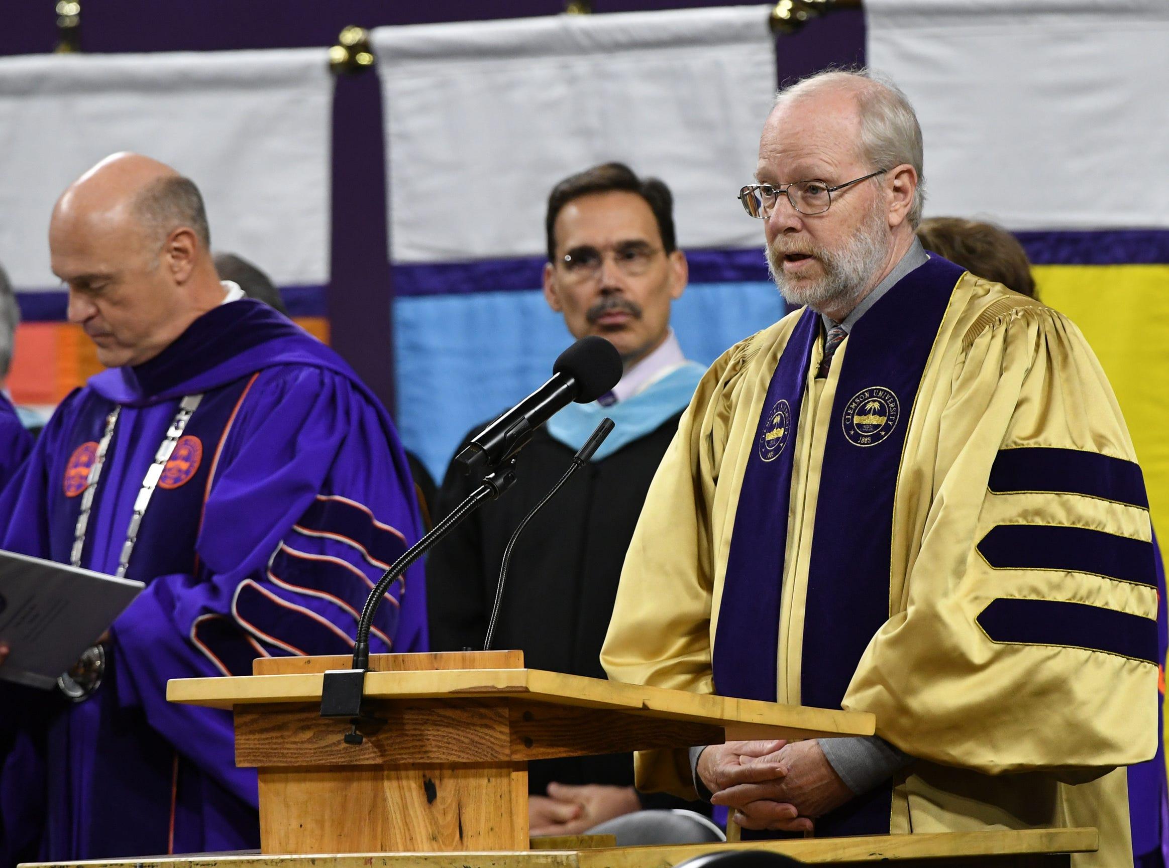 Dr. Benjamin R. Stephens, University Marshal, speaks during Clemson University commencement ceremonies in Littlejohn Coliseum in Clemson Friday, May 10, 2019.