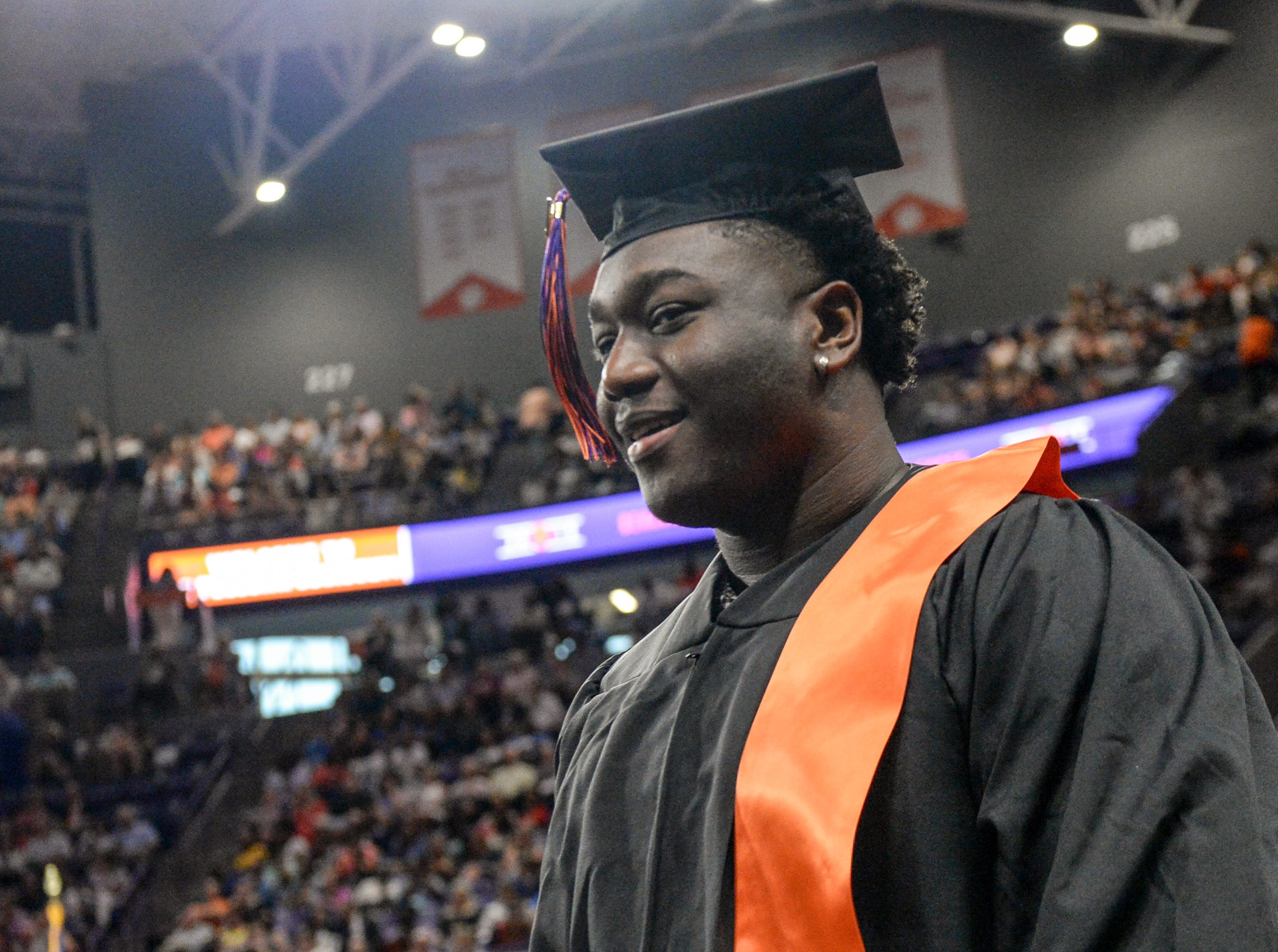 Nyles Pinckney gets his bachelor of science in criminal justice during Clemson University commencement ceremonies in Littlejohn Coliseum in Clemson Friday, May 10, 2019.