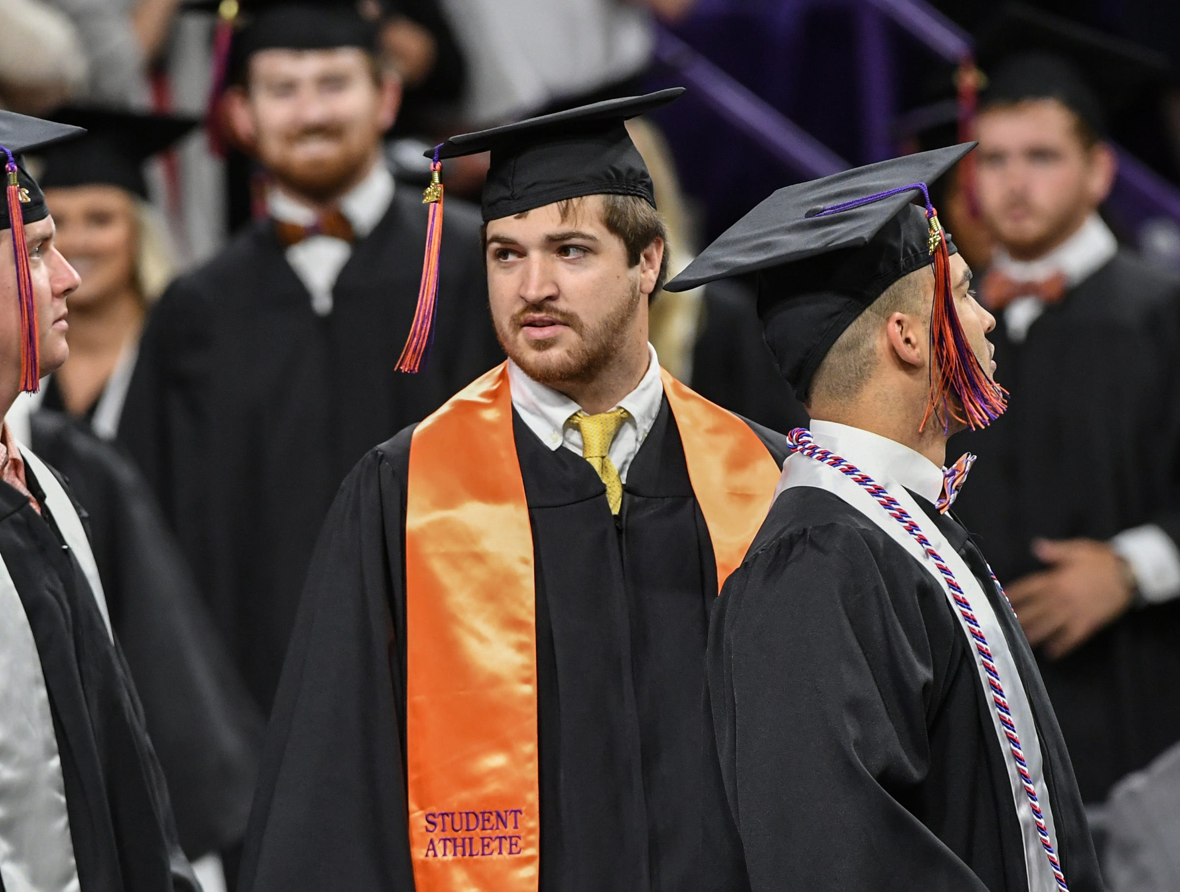 James Barnes of Sumter, who played as a backup at quarterback for the football team, during Clemson University commencement ceremonies in Littlejohn Coliseum in Clemson Friday, May 10, 2019.