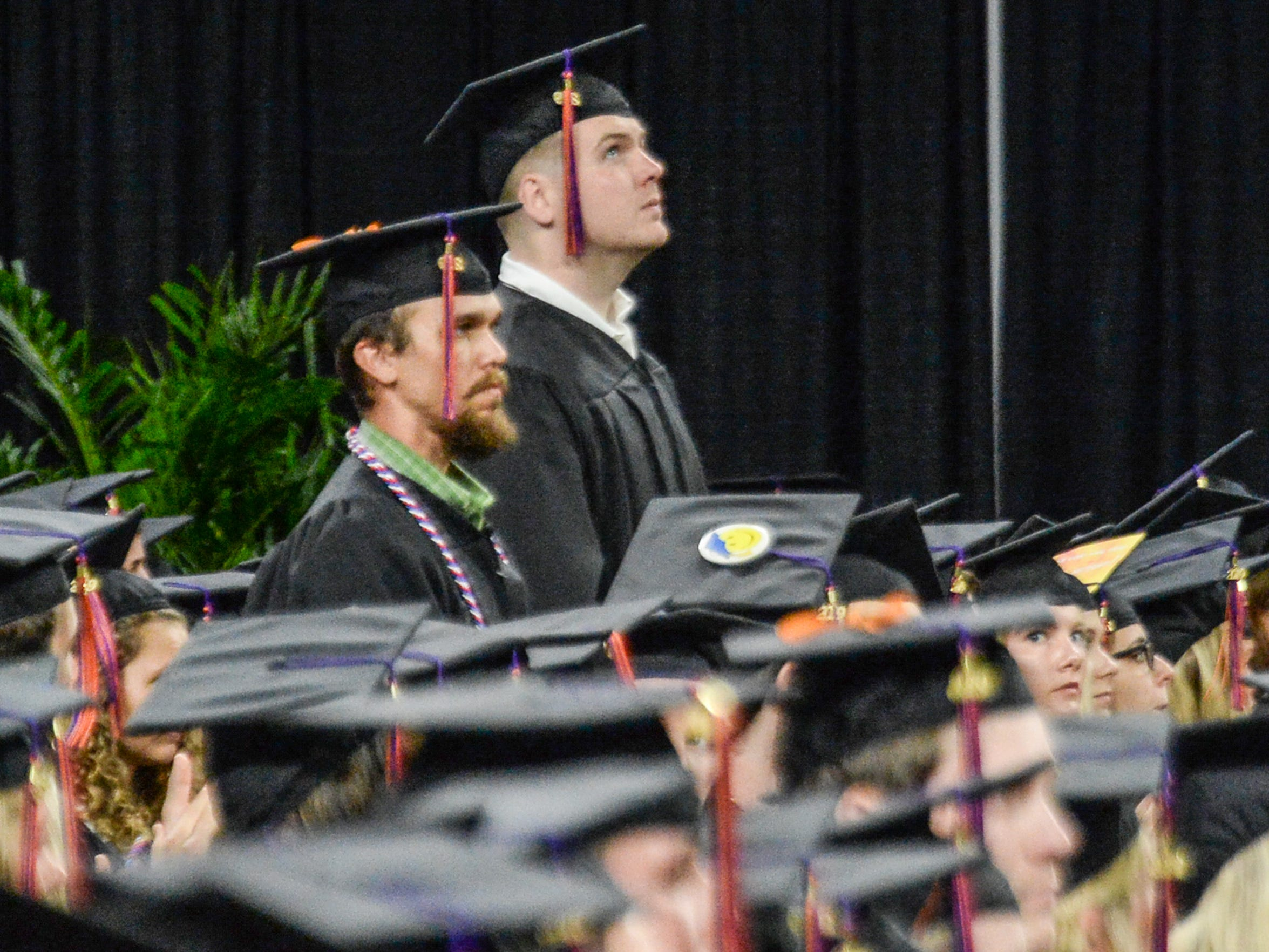 President Jim Clements recognizes graduates and others in the military during Clemson University commencement ceremonies in Littlejohn Coliseum in Clemson Friday, May 10, 2019.