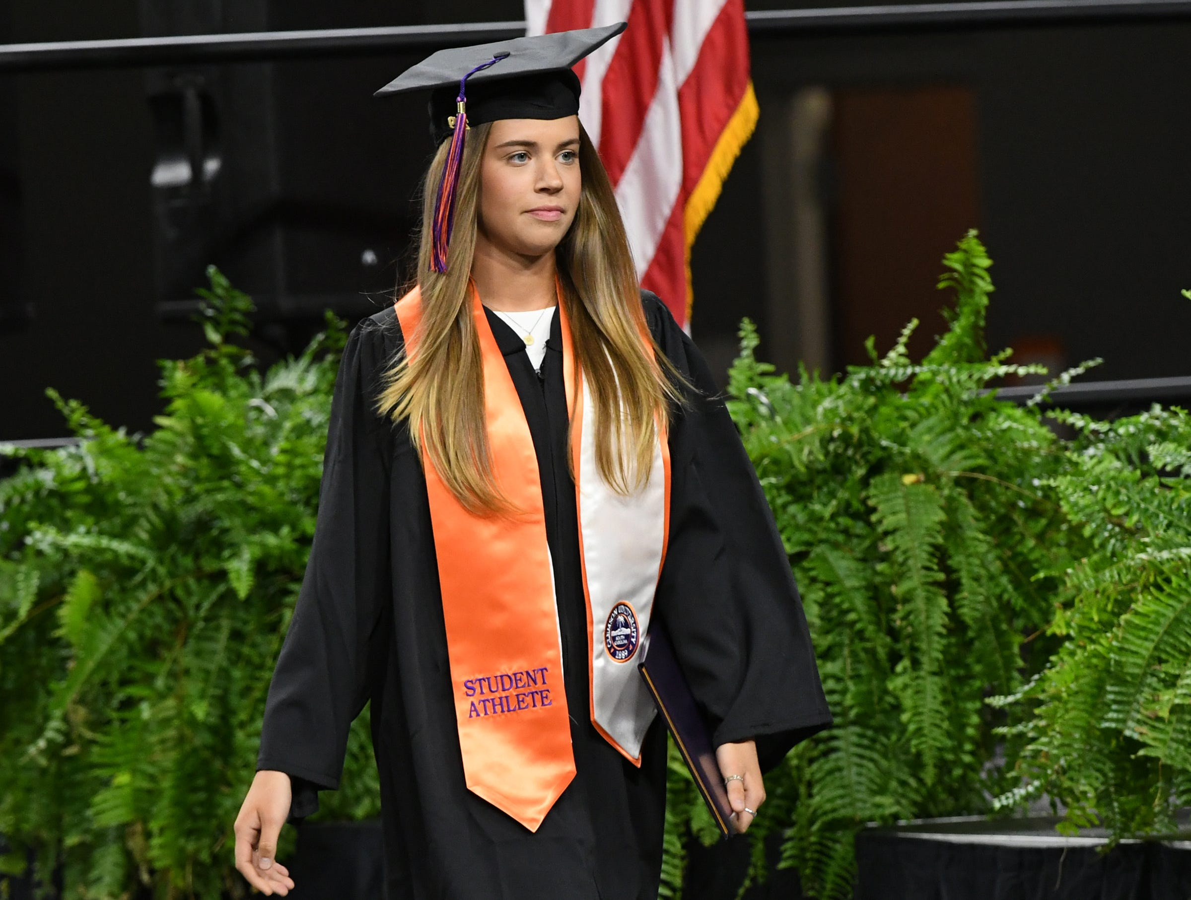 Erin Murphy, former rowing team member, earns a bachelor of science in parks, recreation, tourism, management during Clemson University commencement ceremonies in Littlejohn Coliseum in Clemson Friday, May 10, 2019.