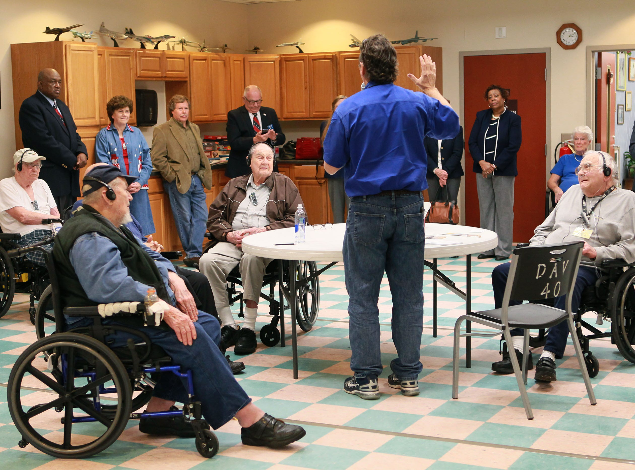 James Stowell (middle) talks to veterans about hearing better with the Hearing Loop Project during a presentation at Richard Campbell Veterans Nursing Home in Anderson in 2015.