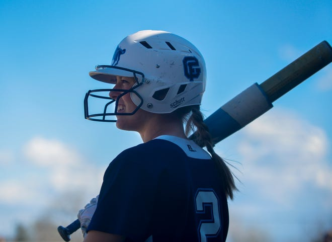 Great Falls High's Sarah Conway waits in the on deck circle during the crosstown softball game against CMR at Multi-Sports Complex. The Bison will face the Helena Bengals Thursday at the State Class AA Tournament in Butte.