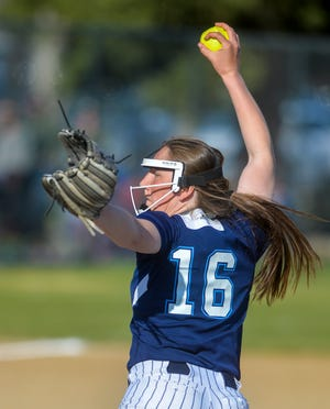 Great Falls High's Anna Toon pitches late in the crosstown softball game against C.M. Russell earlier this month.