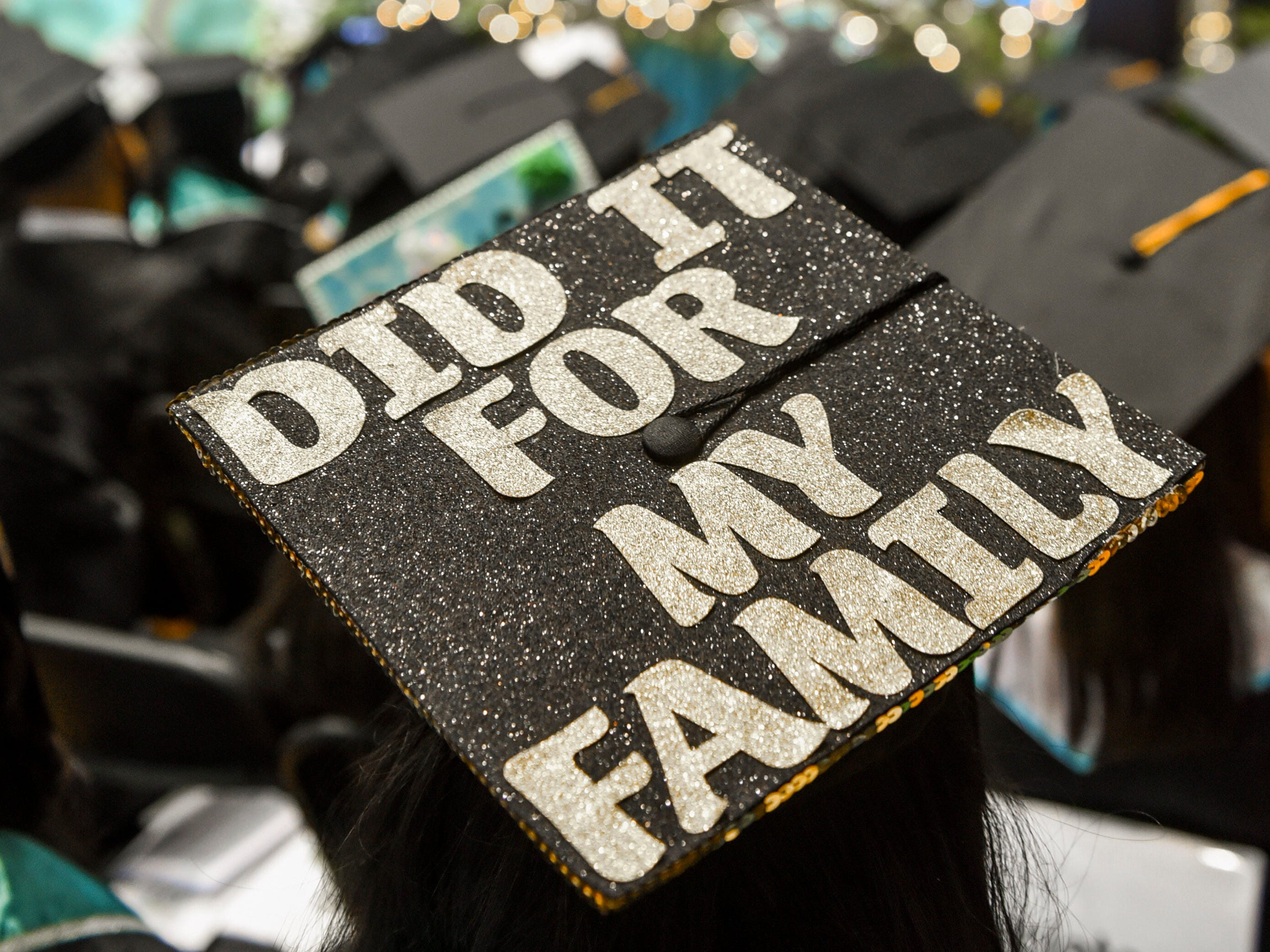 Various messages were conveyed by graduates through the artwork expressed on their caps during Guam Community College's commencement exercise at the University of Guam in Mangilao on Friday, May 10, 2019. The institution conferred a total of 435 degrees, certificates, and/or diplomas to 357 graduates at the ceremony attended by hundreds of family members, friends and other well wishers.