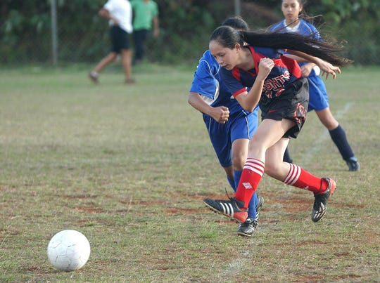 In this 2005 file photo, the Oceanview Knights' Richonne Luzanta wins a challenge for the ball in a Guam Interscholastic Federation Middle School Girls' Soccer League game at F.B. Leon Guerrero Middle School.