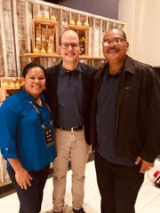 Guam's Frank Cruz, at far right, was elected to serve a four-year term on the FIBA Oceania Basketball Board on May 4 in Australia. At left is  Jubilee Kuartei of Palau, who was also elected, and Andreas Zagklis, FIBA Secretary General. Zagklis was also present for the election.