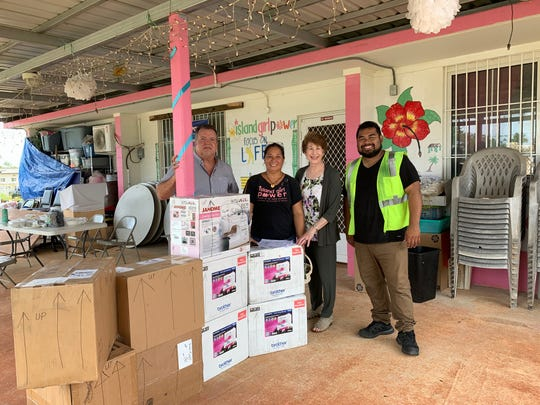 Island Girl Power is one step closer to its dream of launching a project that will provide sewing workshops and sustainability for women and girls in the community. On May 2, the nonprofit organization received eight sewing machines shipped all the way from Wisconsin, thanks to the generosity of The Sewing Machine Project, Triple B Forwarders, and Matson, Inc. Island Girl Power is setting up sewing workshops for its girls and women in order to help them become sustainable and self-sufficient. Pictured: Walden Weilbacher, Ayuda Foundation moard member; Juanita Blaz, IGP director; Jayne Flores, Bureau of Women's Affairs director and Francis Cruz, Triple B Forwarders.