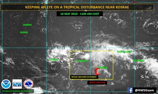 The National Weather Service continues to monitor a tropical disturbance near Kosrae that could bring heavy rains to Guam next week.