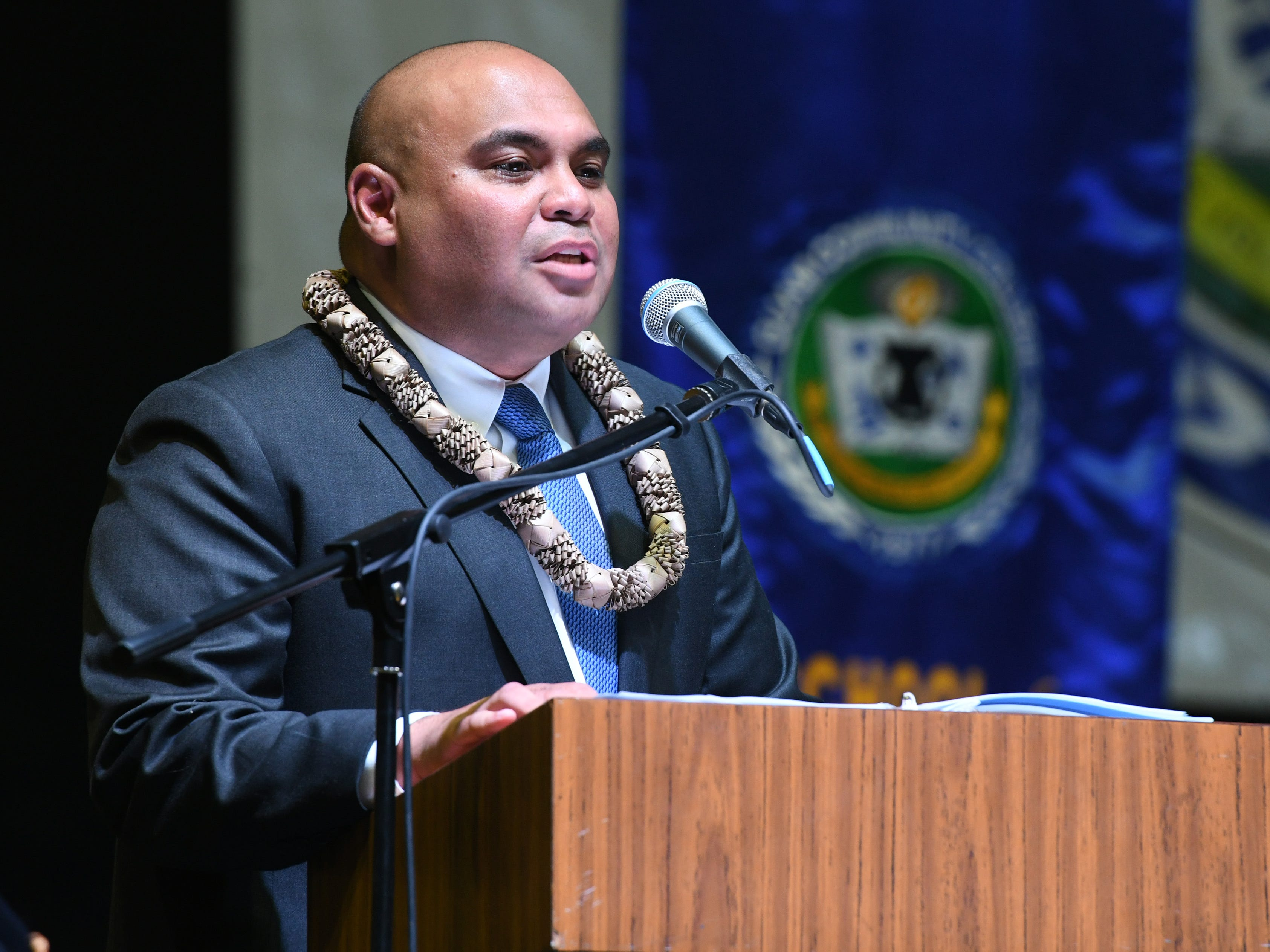 Lt. Gov. Josh Tenorio speaks to graduates and those in attendance at the Guam Community College commencement exercise at the University of Guam in Mangilao on Friday, May 10, 2019.