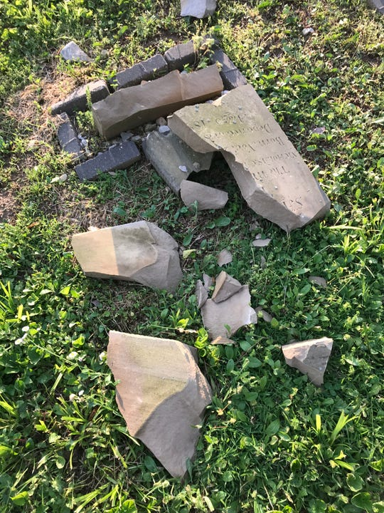 A historic tombstone that had been relatively undamaged from more than a century of exposure is now completely shattered by vandals. Money is being raised to again repair the historic cemetery.