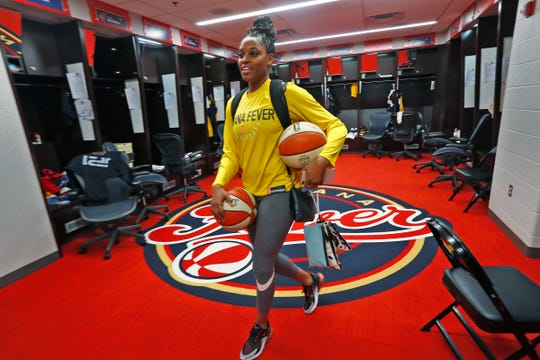 Bria Goss leaves the Indiana Fever locker room, Friday May 10, 2019, at Bankers Life Fieldhouse. The 2011 Indiana Miss Basketball, when at Ben Davis High School, went on to play basketball at the University of Kentucky, then professionally in Finland and Israel before being invited to play at the Indiana Fever training camp.