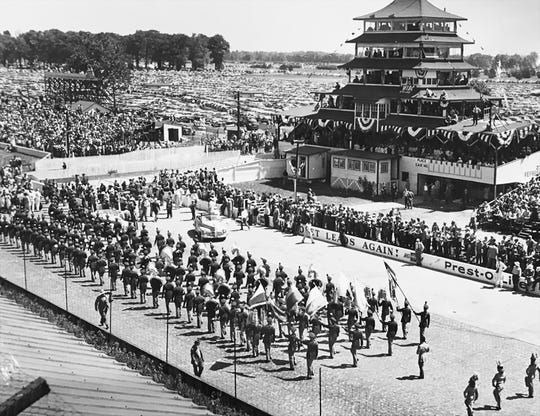 The Purdue band performs during pre-race festivities in 1948.