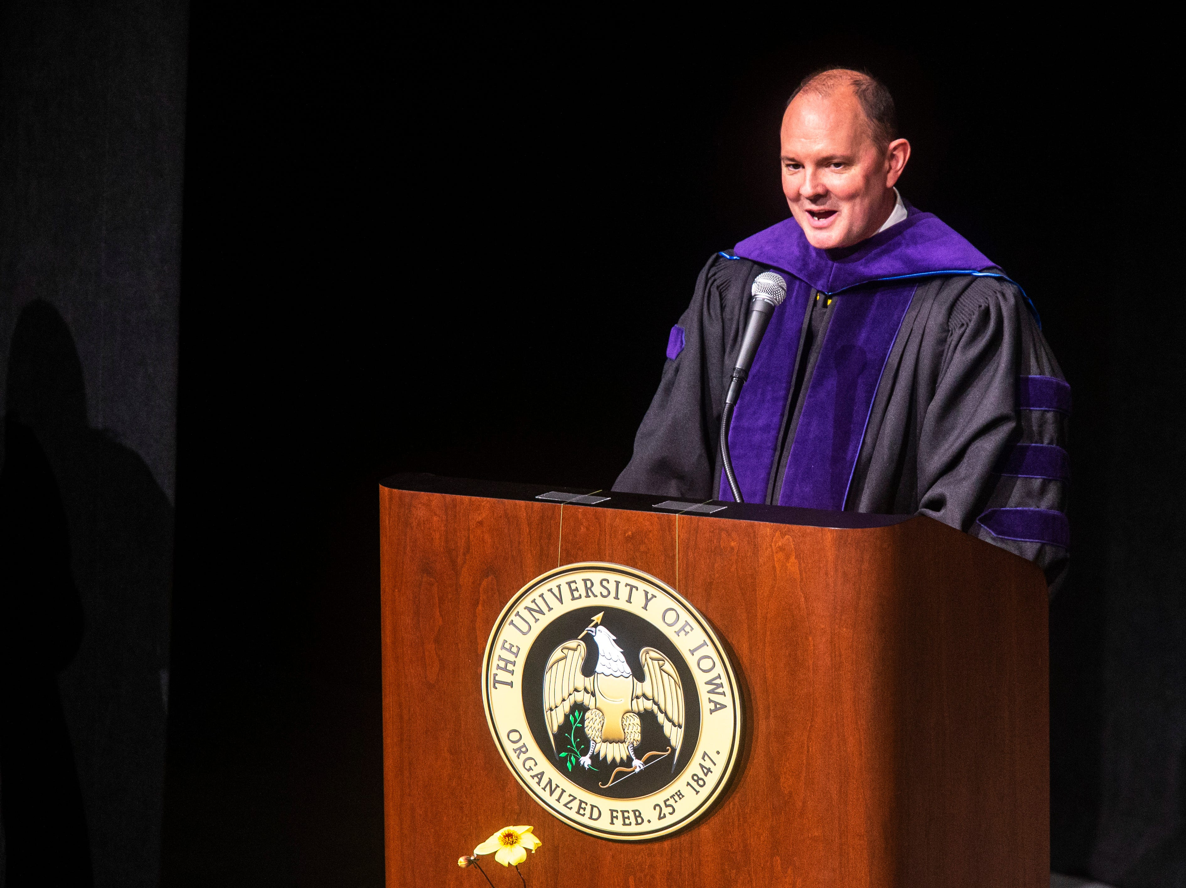 Kevin K. Washburn, N. William Hines Dean and Professor of Law, speaks during the College of Law commencement ceremony, Friday, May 10, 2019, at Hancher Auditorium on the University of Iowa campus in Iowa City, Iowa.