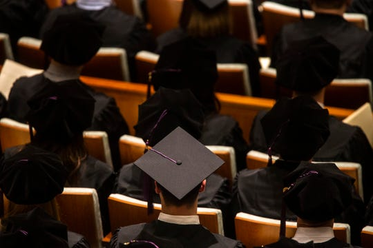 A gradate's cap is pictured during the College of Law commencement ceremony, Friday, May 10, 2019, at Hancher Auditorium on the University of Iowa campus in Iowa City, Iowa.