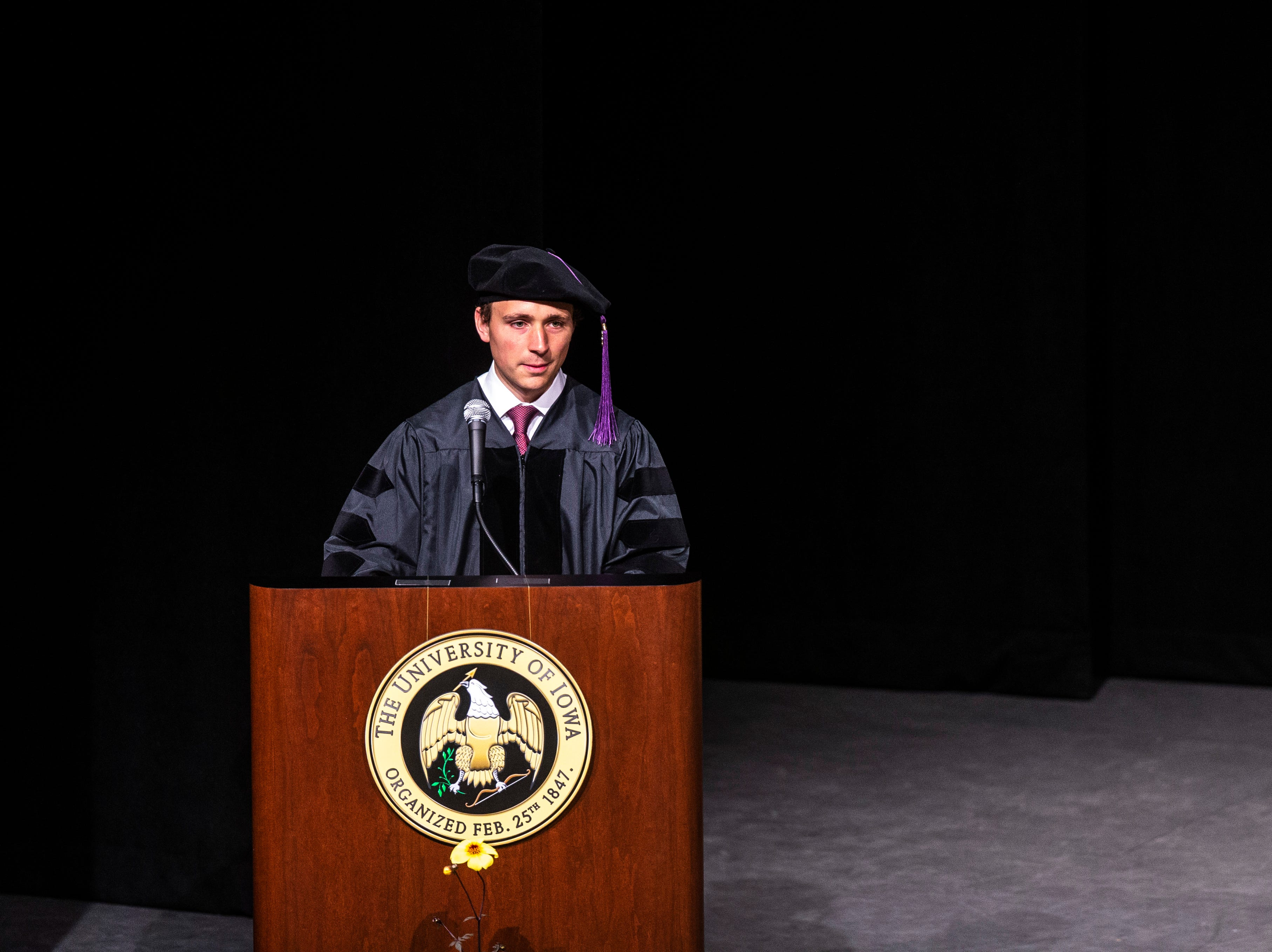 Alexander Parrott, of Des Moines delivers the student address during the College of Law commencement ceremony, Friday, May 10, 2019, at Hancher Auditorium on the University of Iowa campus in Iowa City, Iowa.