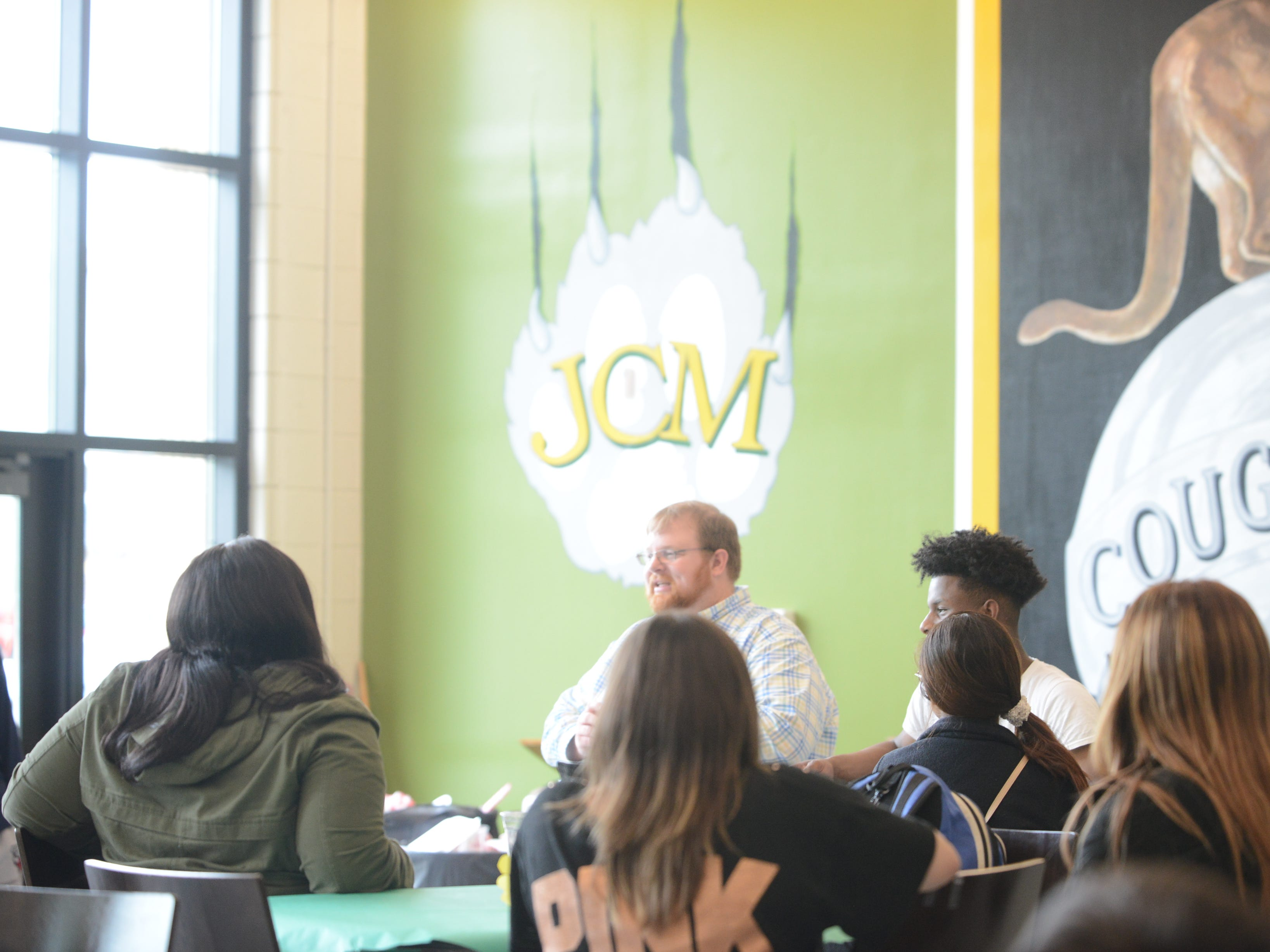 JCM-ECH Principal Nathan Lewis talks to the graduating class during their senior picnic the day before 17 graduated from JSCC with an associate's degree.