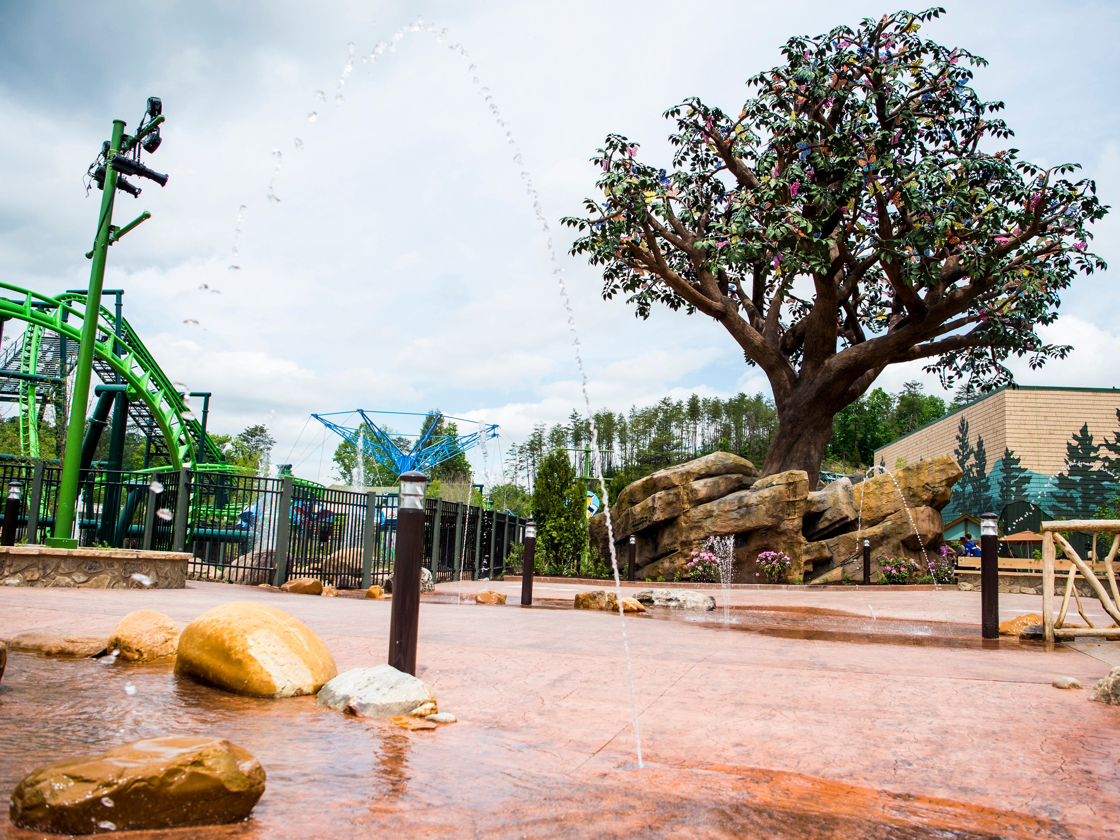 Pop jets and splashing pools make up the Wildwood Creek area in Dollywood's new Wildwood Grove expansion on Friday, May 10, 2019.