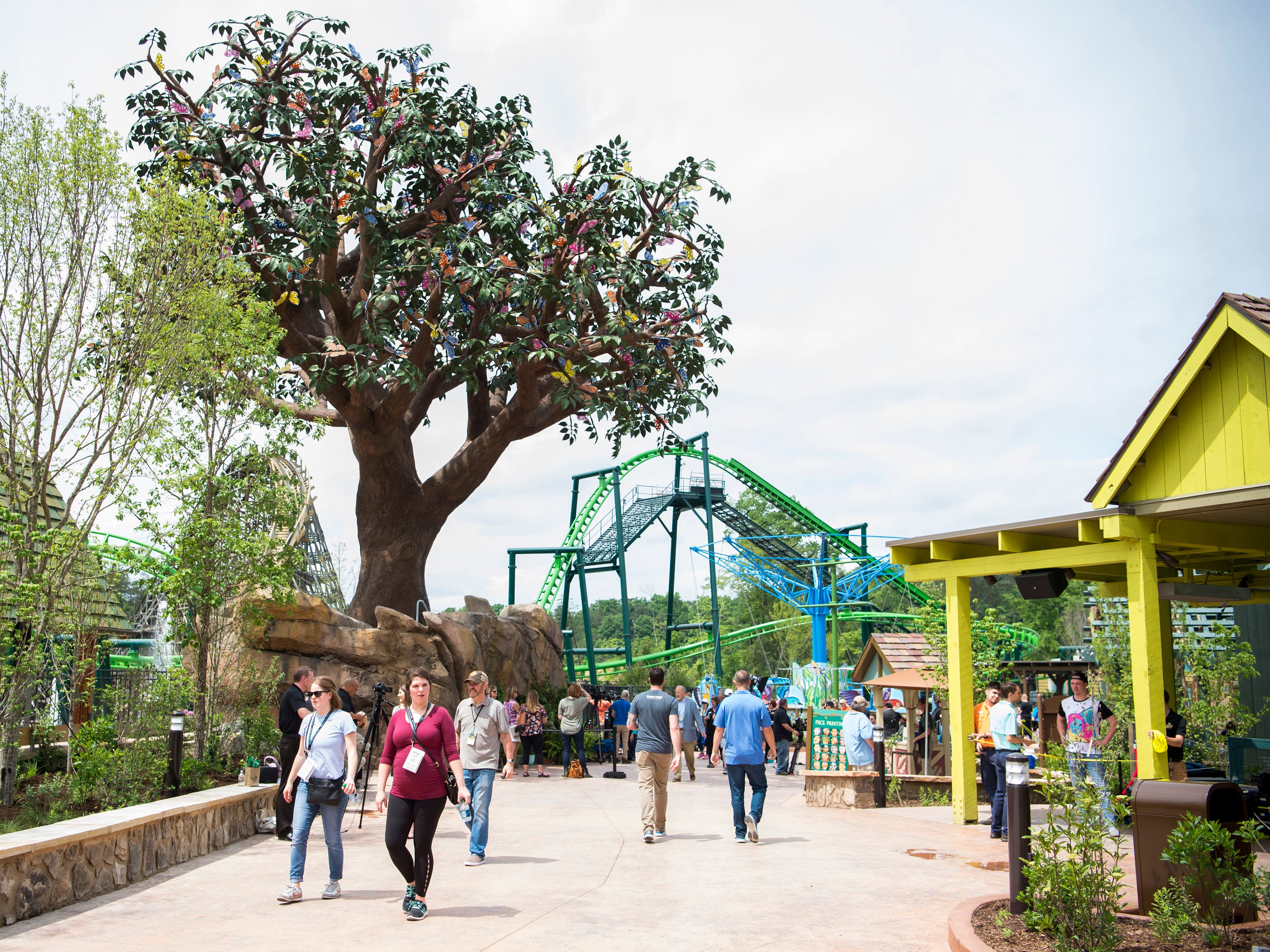 Guests enjoy Dollywood's new Wildwood Grove expansion on Friday, May 10, 2019.