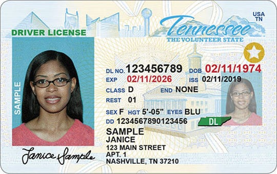 "There are now standards in effect for issuing Real ID-compliant driver's licenses in Tennessee. The gold star on the right side shows it's a new one; future noncompliant licenses will instead say ""Not for federal identification."""