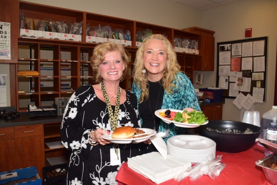 "Pam Witcher and Brandy Weaver at a luncheon in honor of Teacher Appreciation Week held at Ball Camp Elementary on Tuesday, May 7. ""It's nice to be able to stop and decompress for a moment,"" said Weaver."