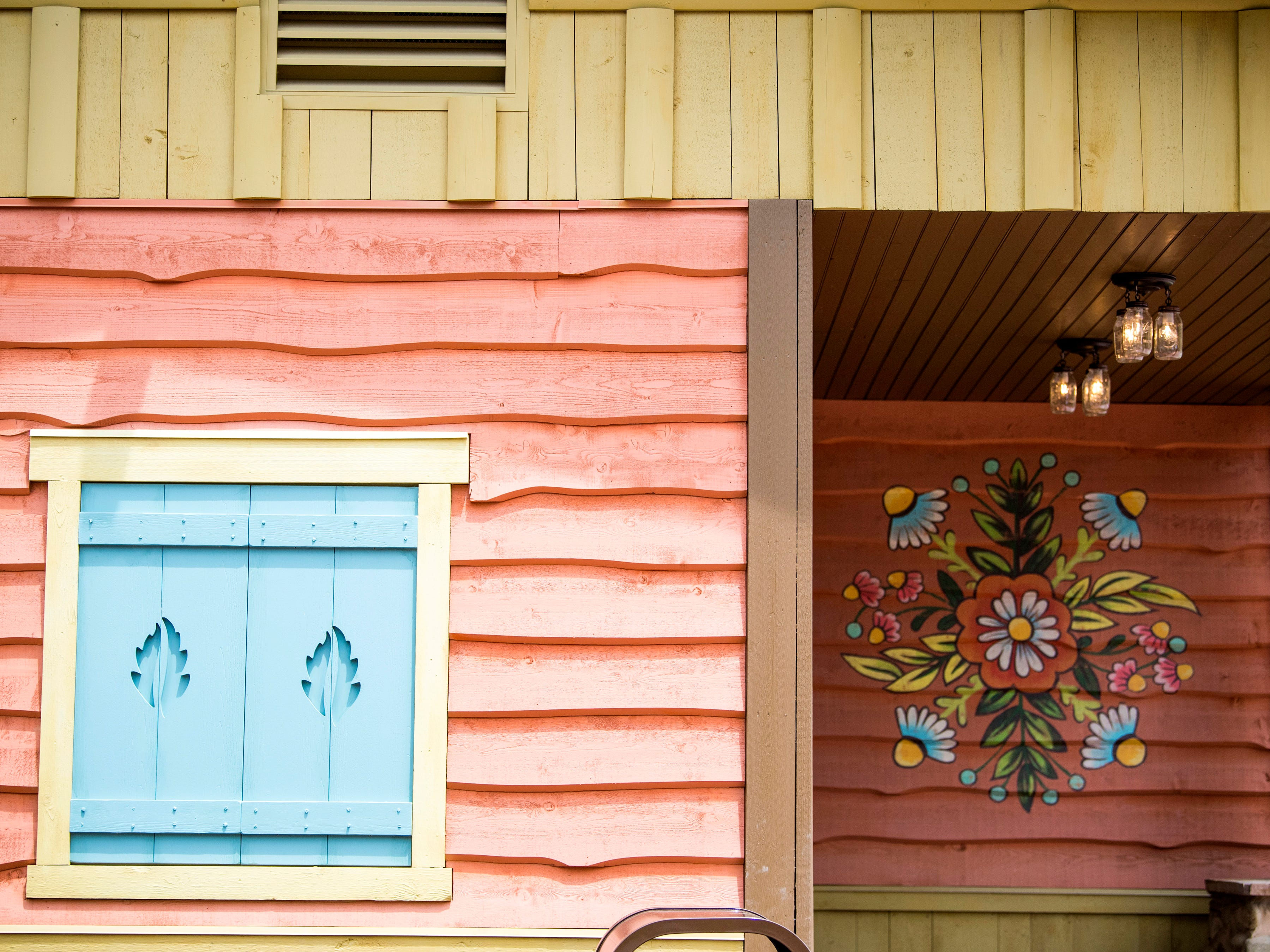 The exterior of a restroom inside Dollywood's new Wildwood Grove expansion on Friday, May 10, 2019.